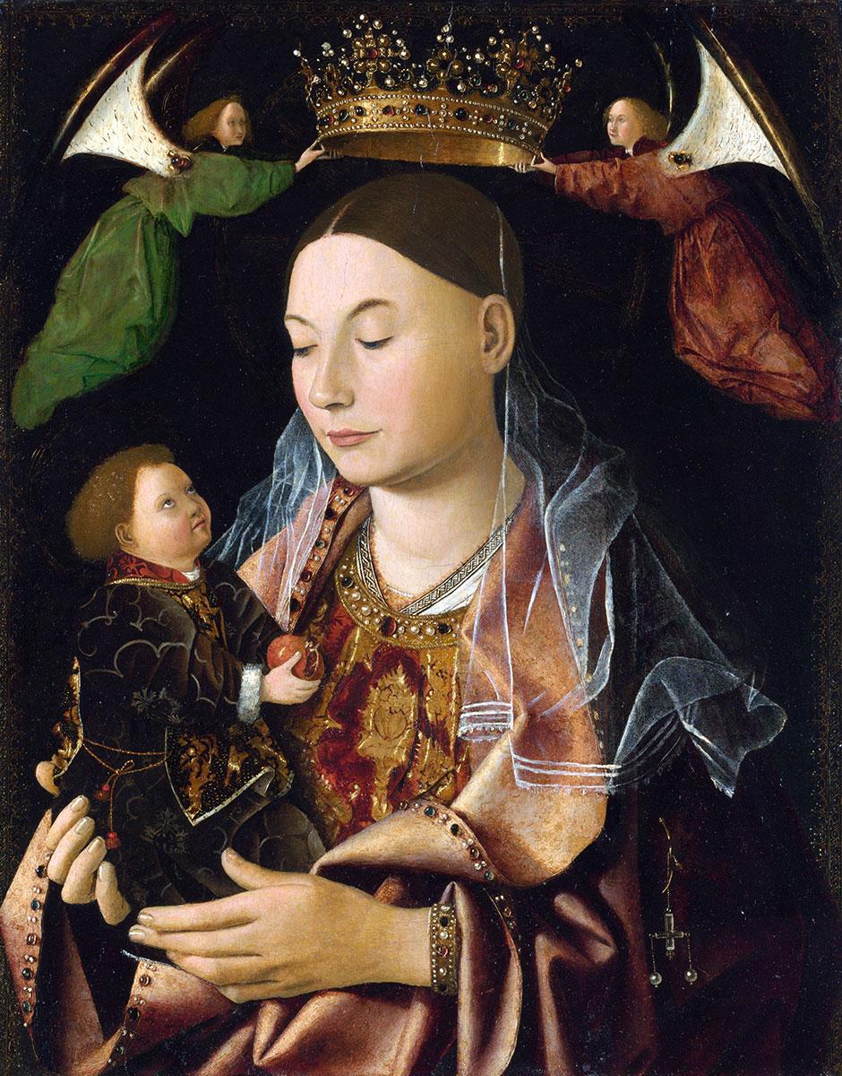 Madonna Salting col Bambino e due angeli reggi corona