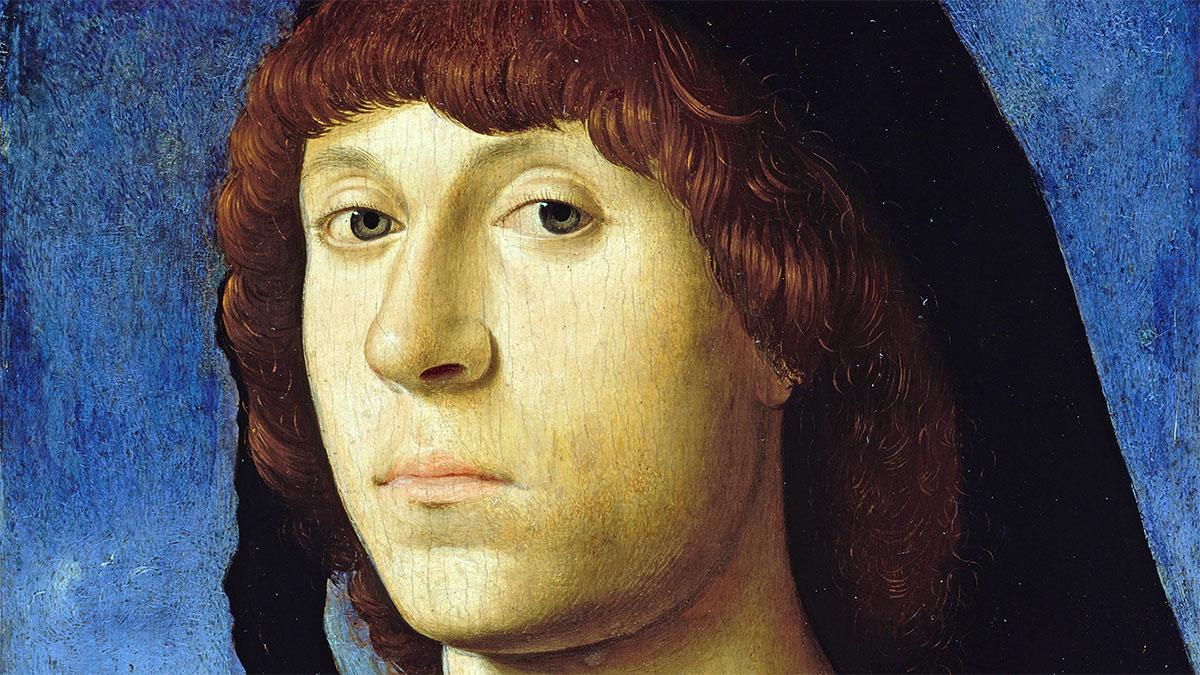Ritratto di uomo giovane Antonello da Messina 1478 volto dettaglio
