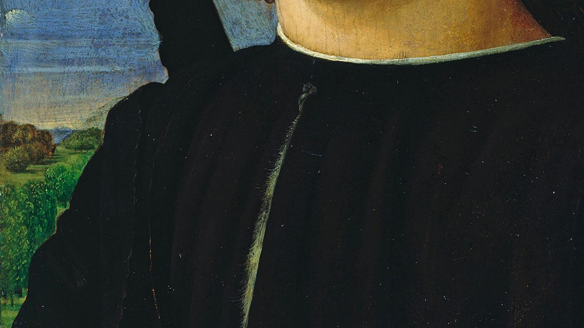 Il dettaglio del paesaggio, del braccio destro e della camicia