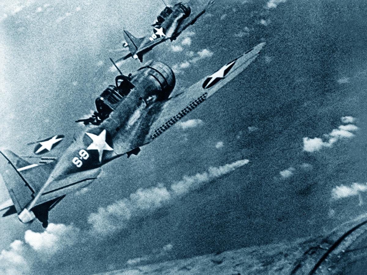 Aerei USA durante la Battaglia di Midway: foto della flotta americana scattata in volo