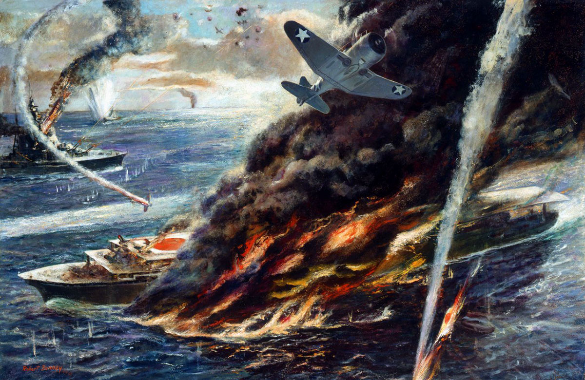 Un quadro raffigurante la battaglia delle Midway