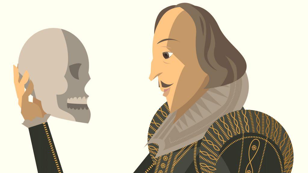Shakespeare tiene in mano un teschio: scena iconica e simbolica dell'Amleto