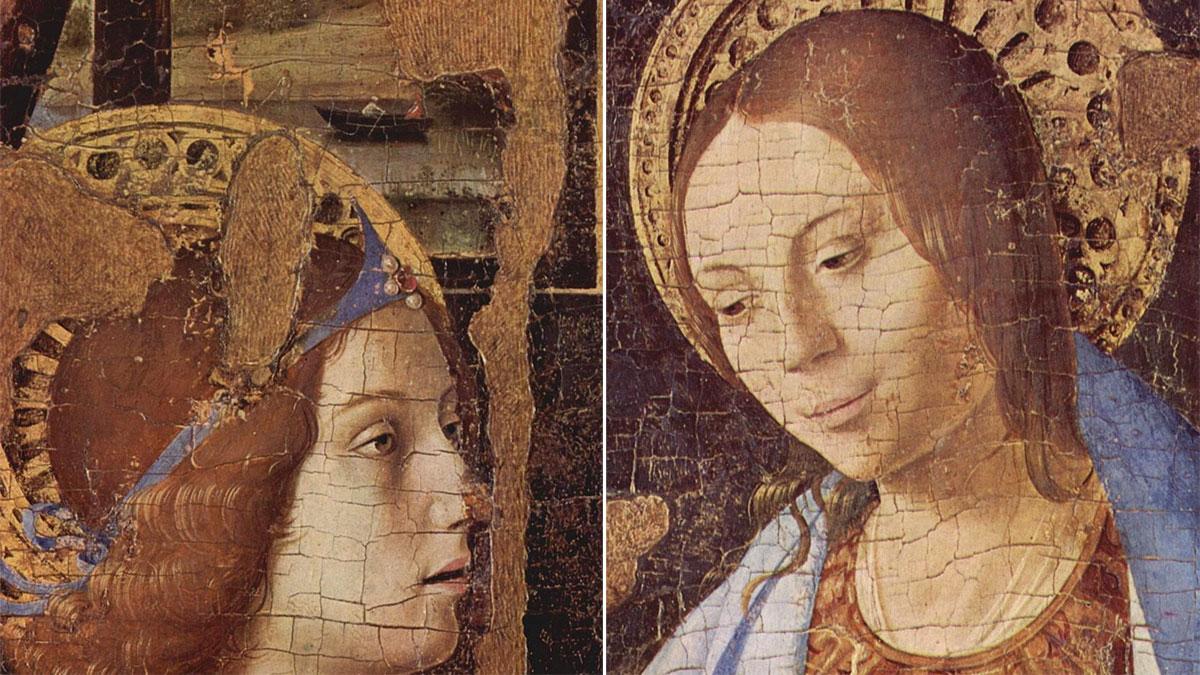 Annunciazione (di Antonello da Messina): il dettaglio dei volti dell'angelo e della Madonna