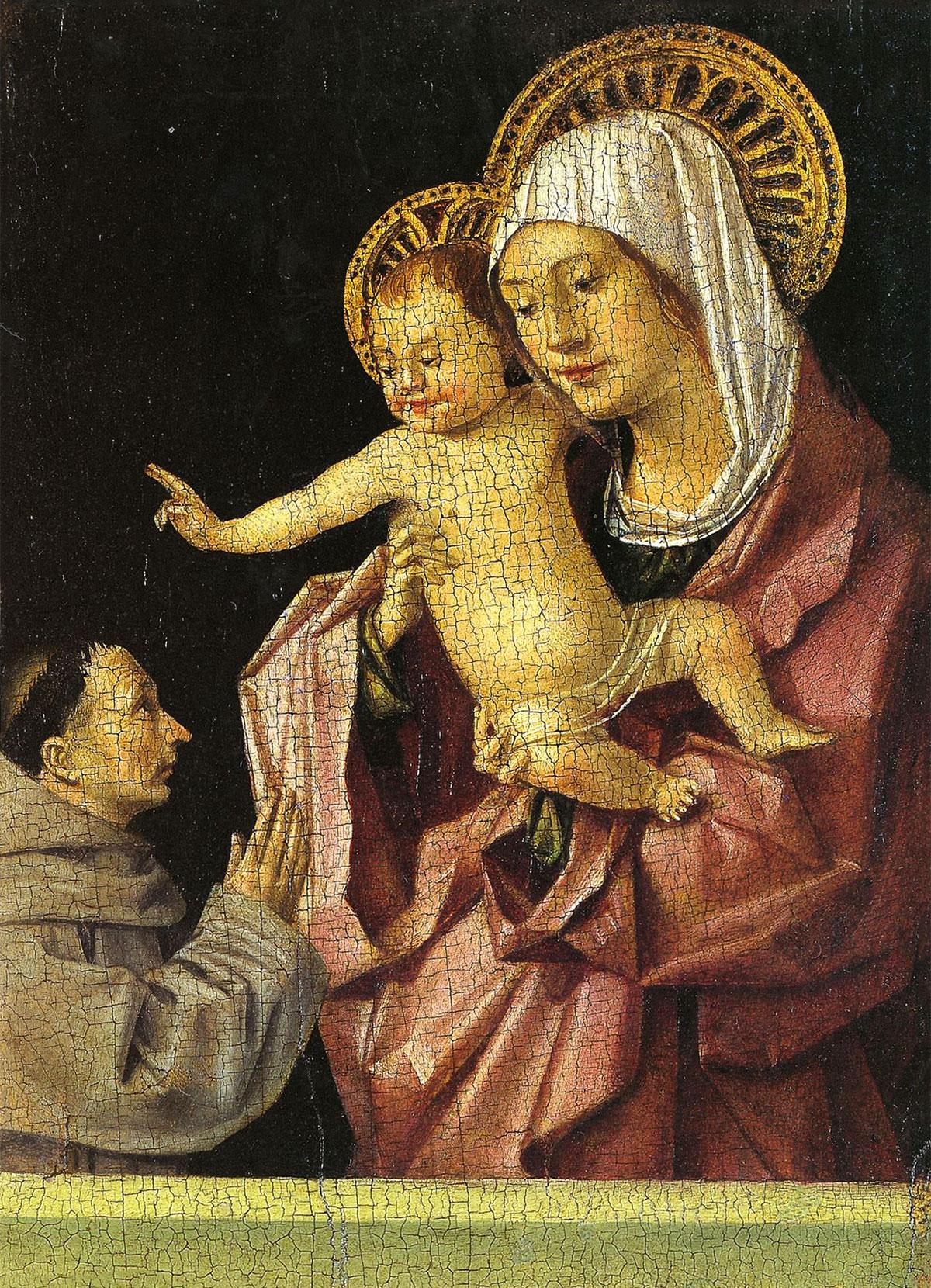 Madonna con il Bambino benedicente e un Santo Francescano in adorazione - tavoletta di Antonello da Messina