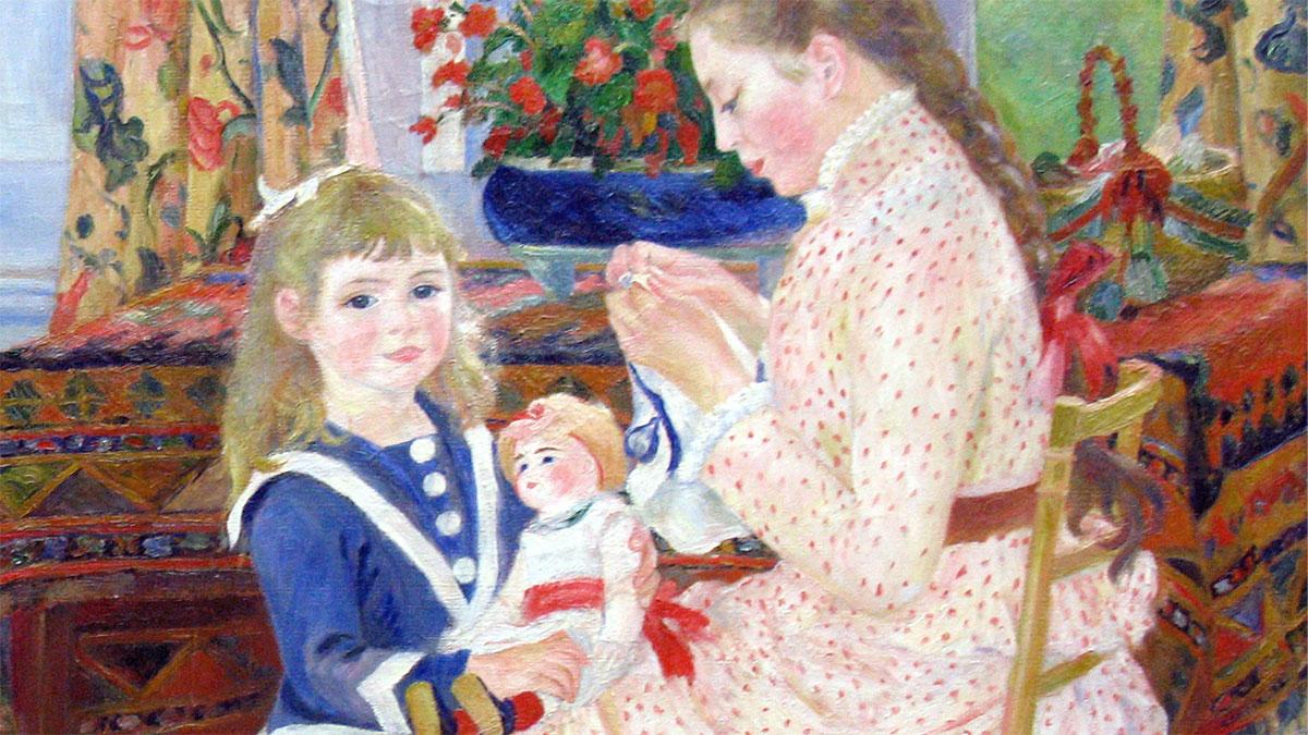 Bambini Bérard a Wargemont (Renoir): il dettaglio dei volti delle figure femminili: la bambina con la bambola e la ragazza che ricama.