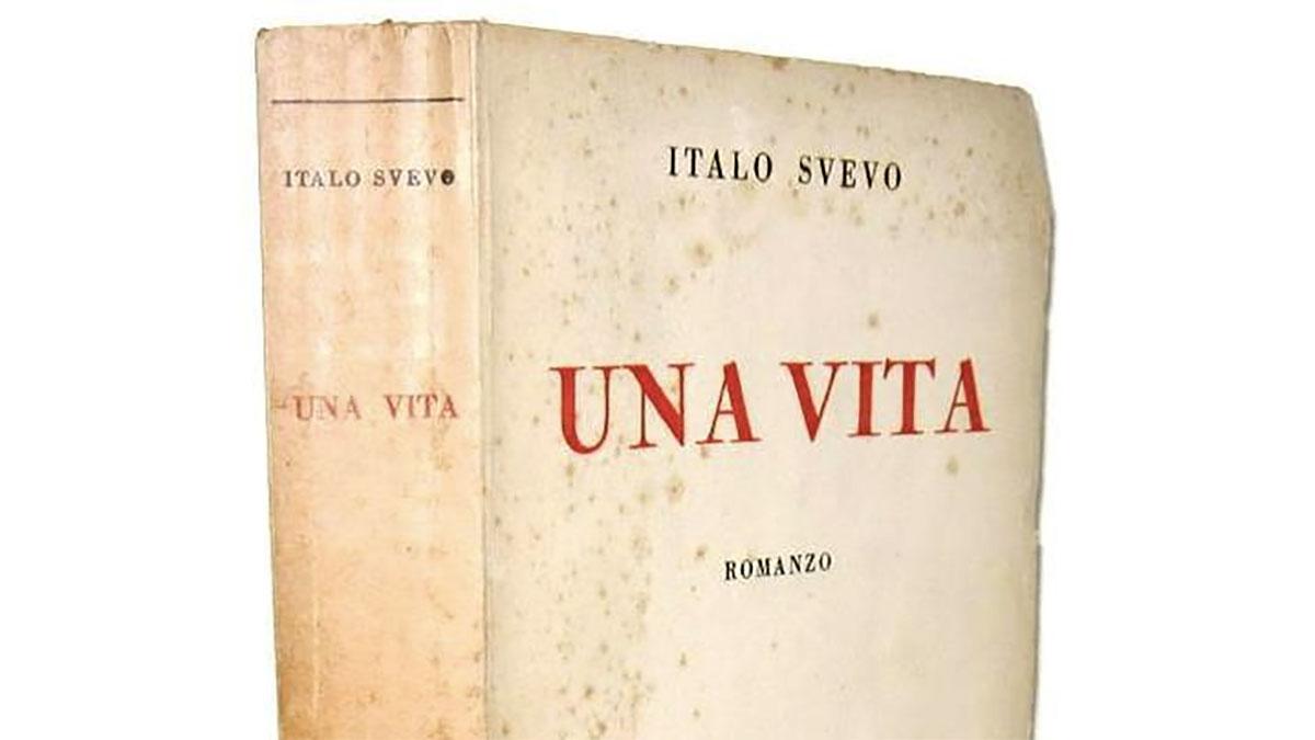 La copertina di una vecchia edizione del libro UNA VITA, romanzo di Italo Svevo