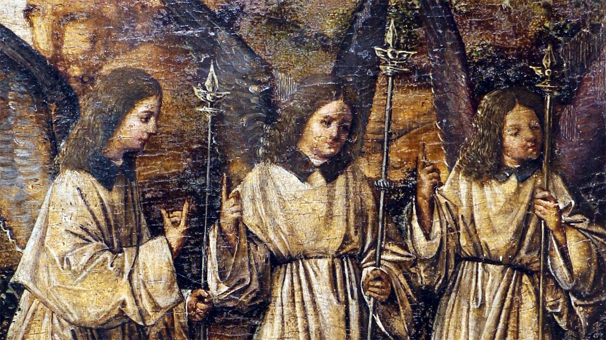 Visita dei tre angeli ad Abramo (Antonello da Messina): dettaglio degli angeli