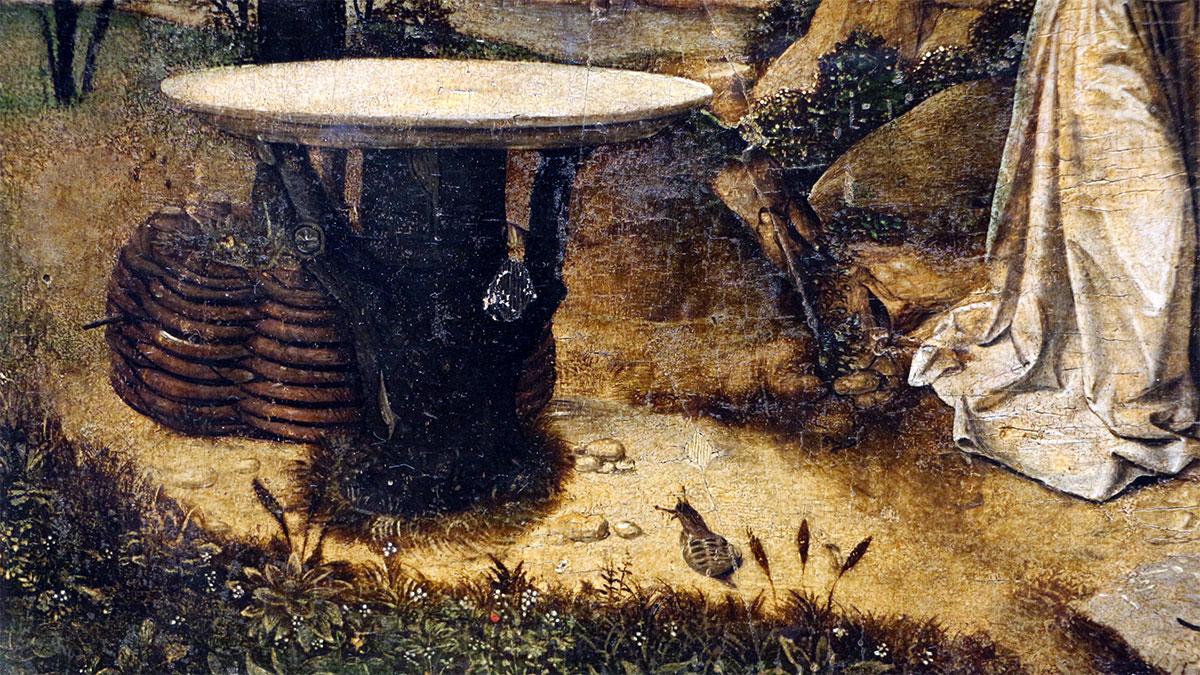 Visita dei tre angeli ad Abramo: dettaglio della lumaca e del tavolo