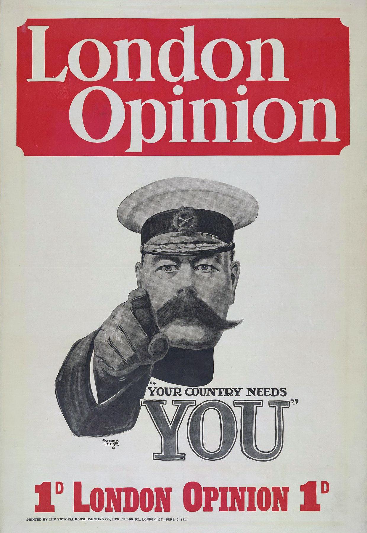 """Il manifesto britannico in cui compare Horatio Herbert Kitchener con il messaggio """"Your Country Needs You"""""""