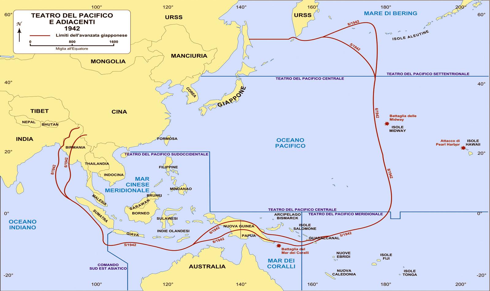 Cartina geografica del teatro del Pacifico - 1942 - con la posizione di Guadalcanal