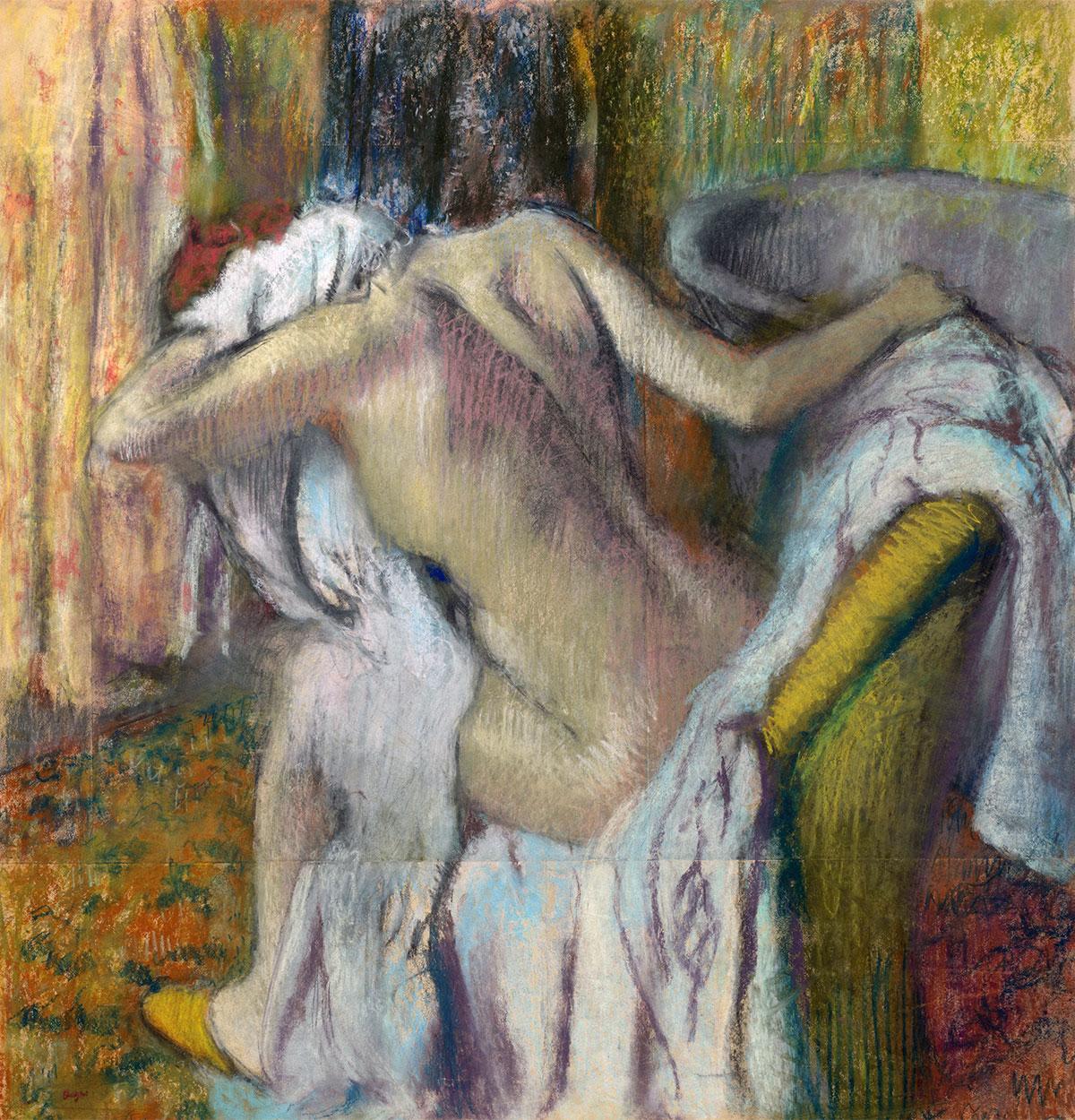 Dopo il bagno, donna che si asciuga (After the Bath, Woman drying herself) - quadro di Edgar Degas