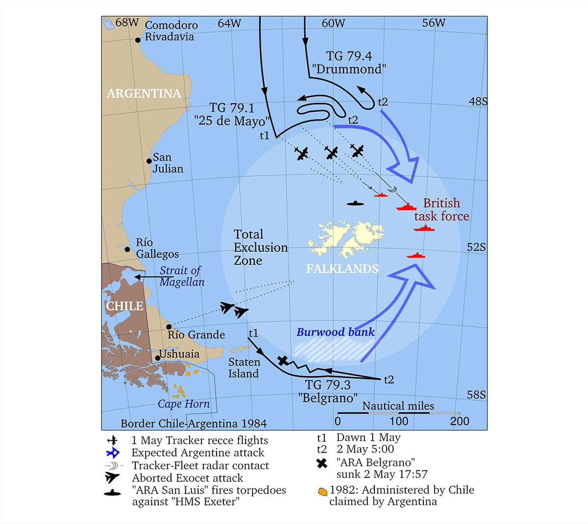 Guerra delle Falkland: inizio maggio 1982. Dispiegamento delle forze aeronavali