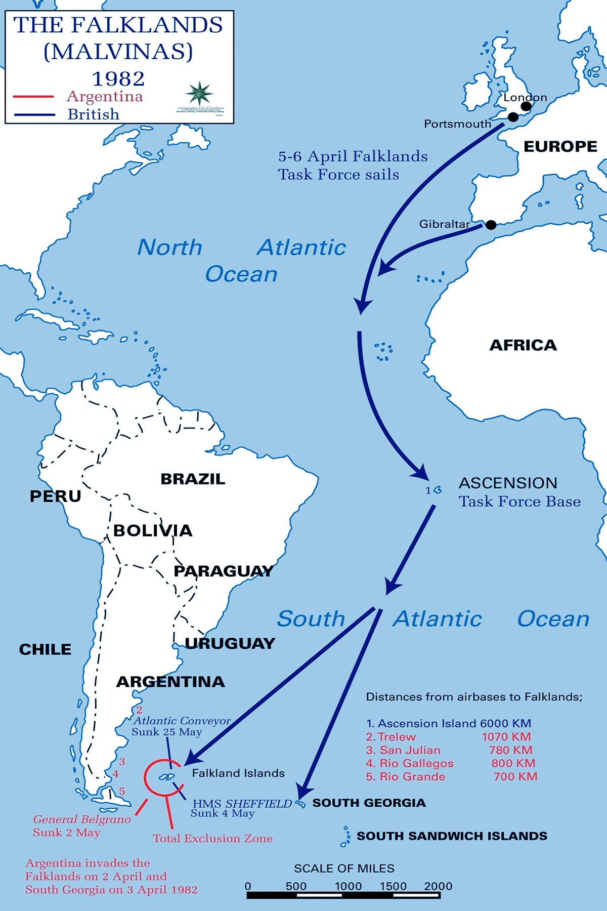 Guerra della Falkland: distanze, basi e movimenti della flotta britannica