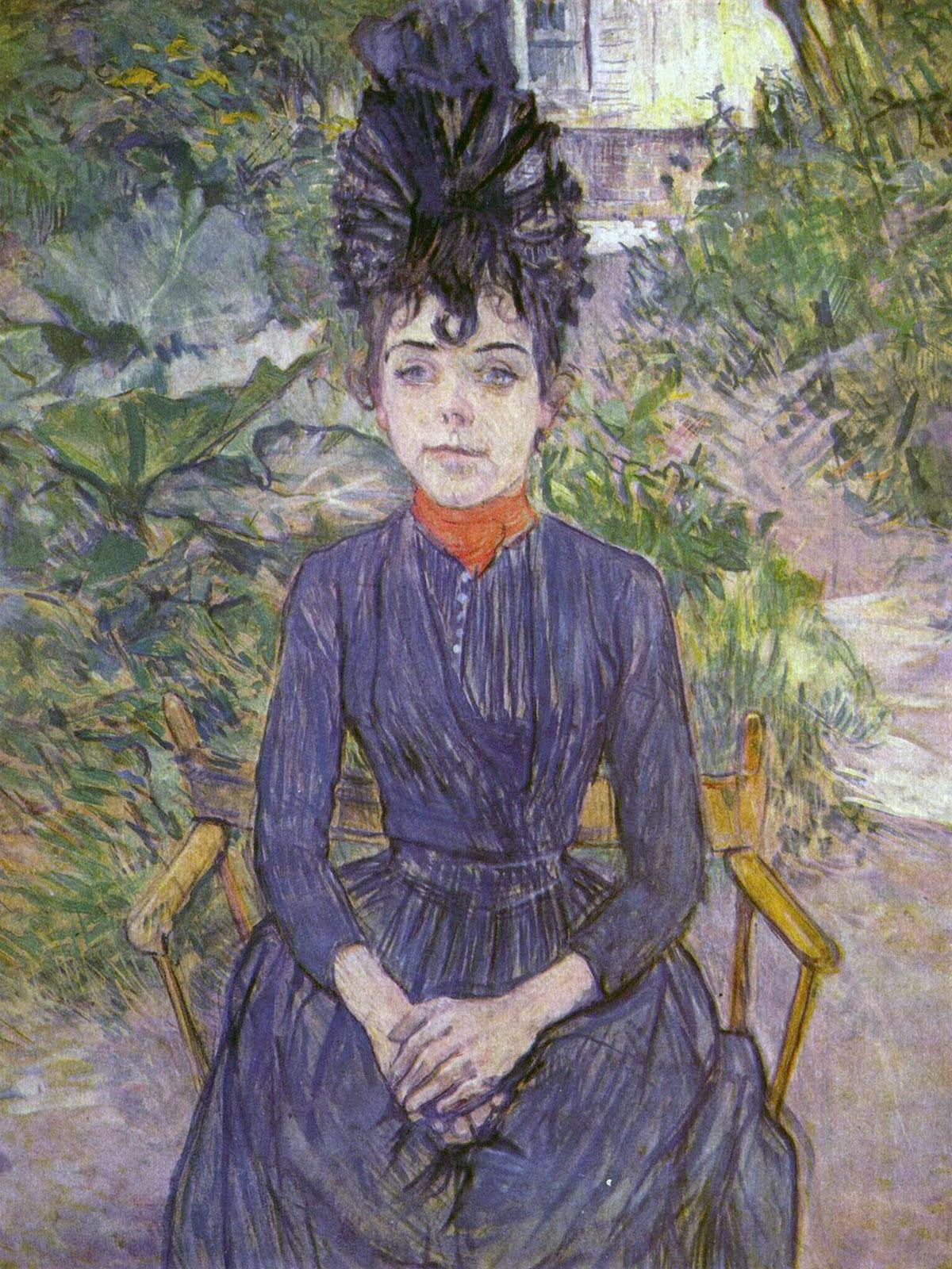 Justine Dieuhl seduta nel giardino di Forest, opera di Henri de Toulouse-Lautrec