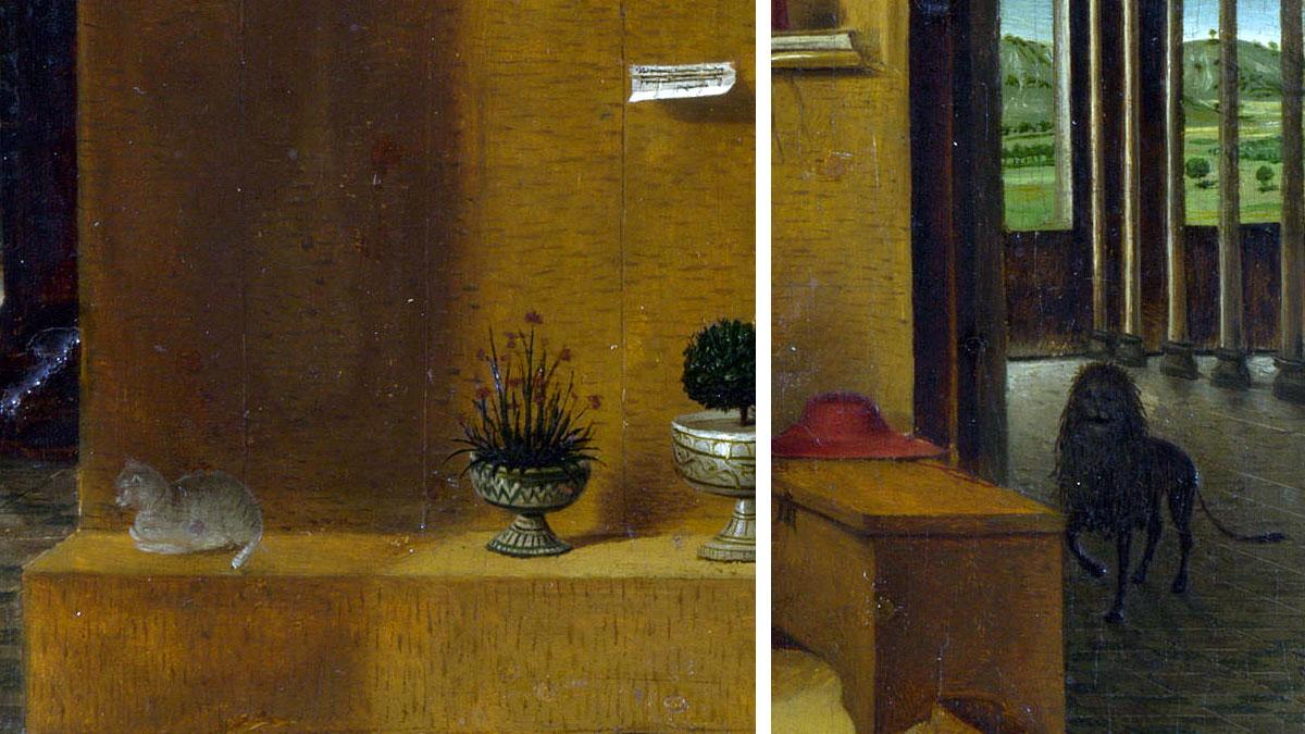 Gli animali: il gatto e il leone (San Girolamo nello studio)