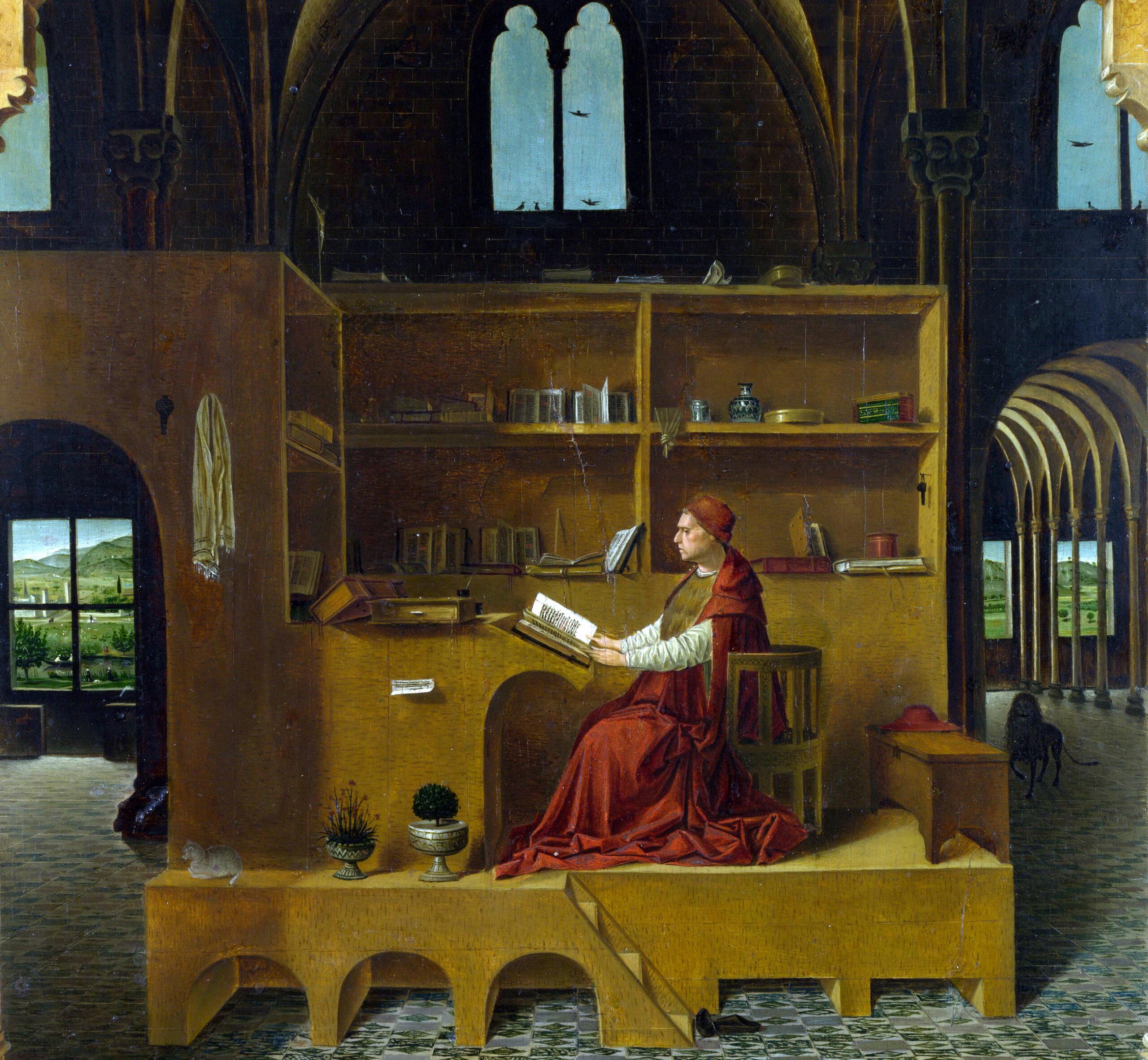 San Girolamo nello studio, i dettagli del dipinto