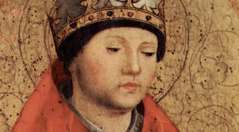 Dettaglio del volto di Gregorio Magno: si può vedere l'accenno di barba