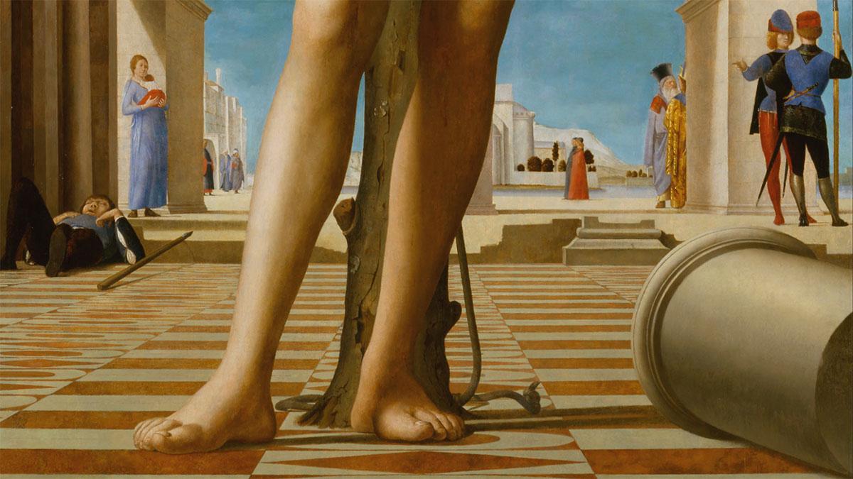 San Sebastiano (Antonello da Messina), dettaglio della parte bassa: la colonna, i piedi, i personaggi