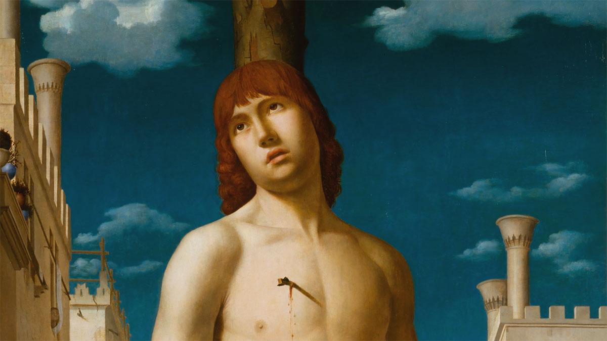 San Sebastiano (Antonello da Messina), dettaglio del volto, dei comignoli e delle nuvole