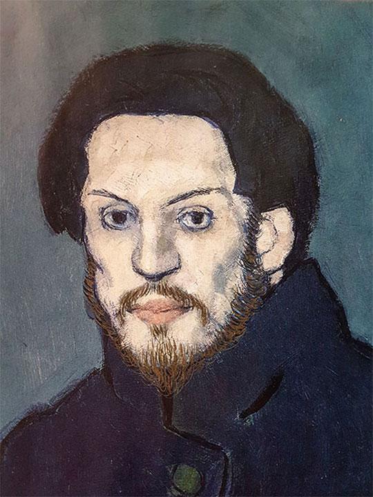 Autoritratto di Picasso: dettaglio del viso
