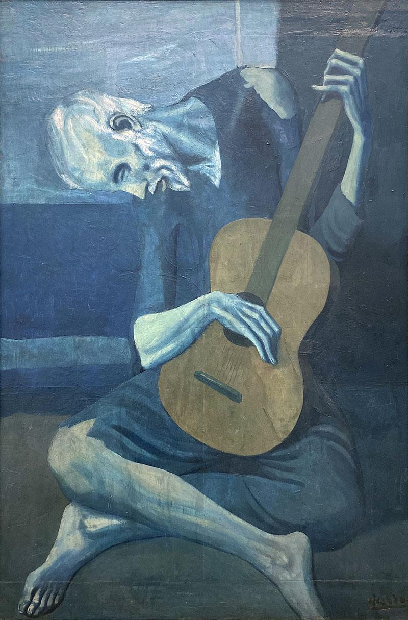 Il vecchio chitarrista cieco (El viejo guitarrista ciego - The Old Guitarist) – Picasso, 1903