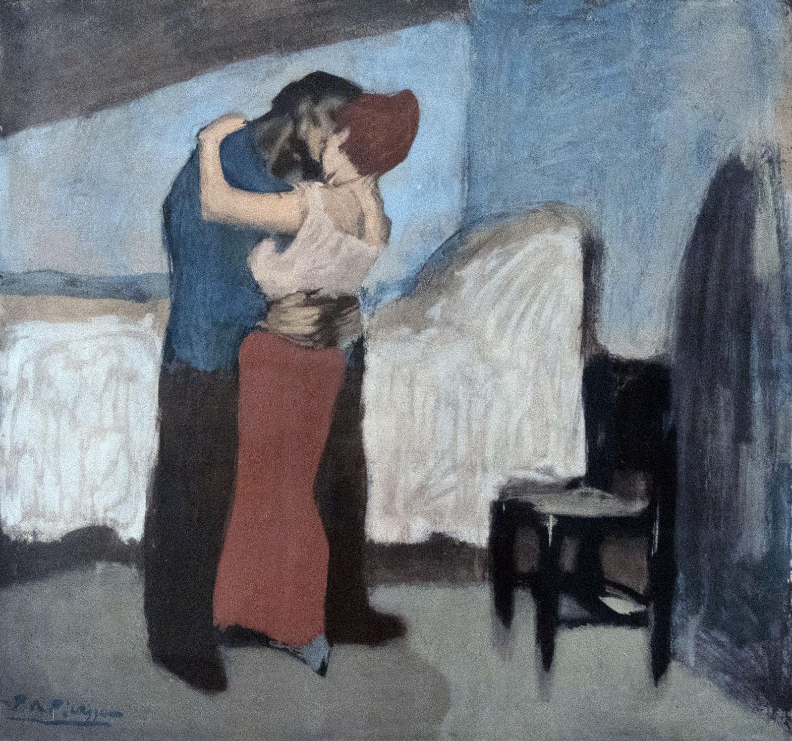 L'appuntamento, quadro di Pablo Picasso dipinto nel 1900 a Parigi (L'abbraccio - The Embrace)
