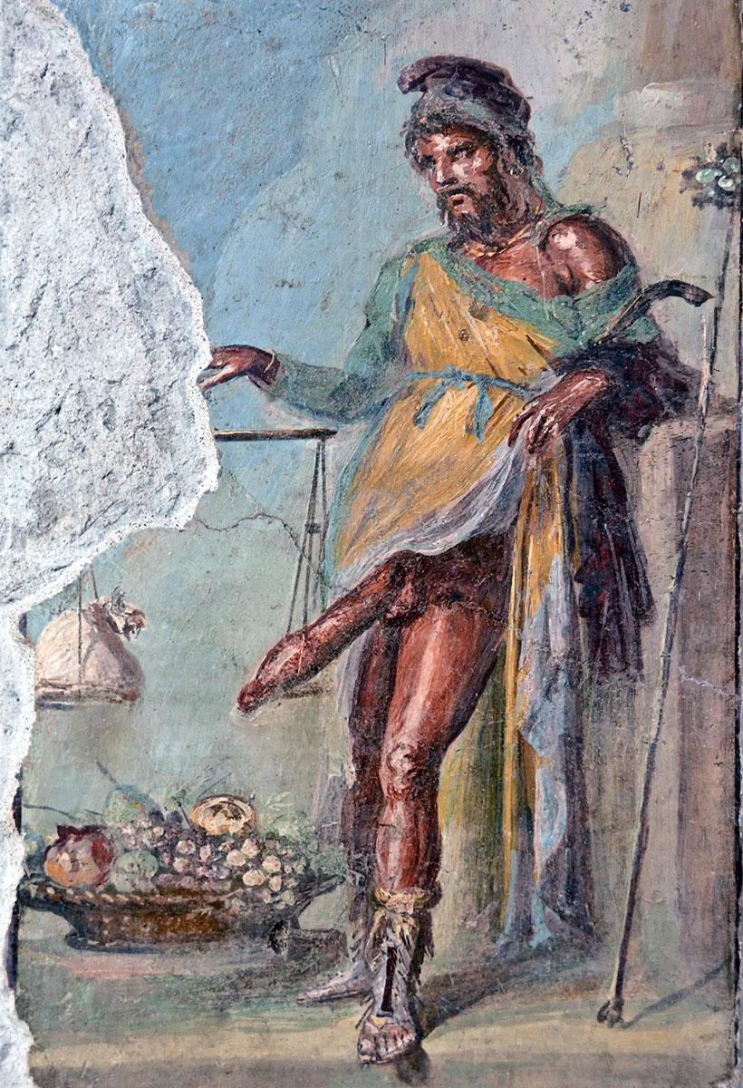 Priapo, Mito: Affresco di Pompei, casa dei Vettii