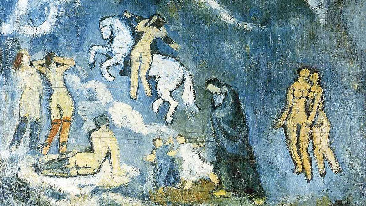 Evocazione (Picasso): Il dettaglio del quadro in cui appaiono le donne nude e il cavallo bianco