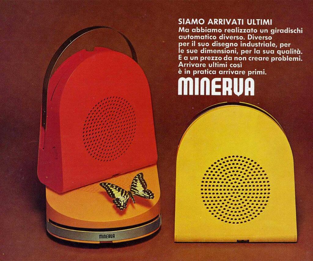 Una pubblicità dell'epoca del mangiadischi Minerva