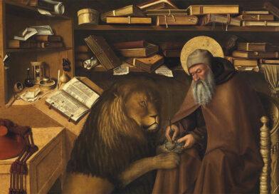 San Girolamo nello studio, dettaglio del santo e del leone