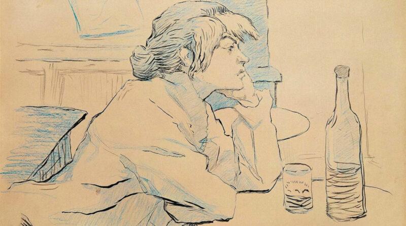 La bevitrice, disegno di Henri de Toulouse-Lautrec