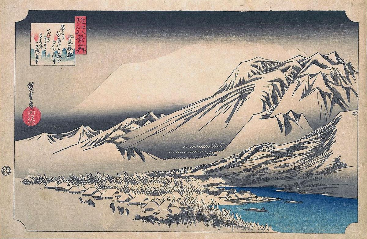 Neve di sera a Hira, quadro famoso di Hiroshige