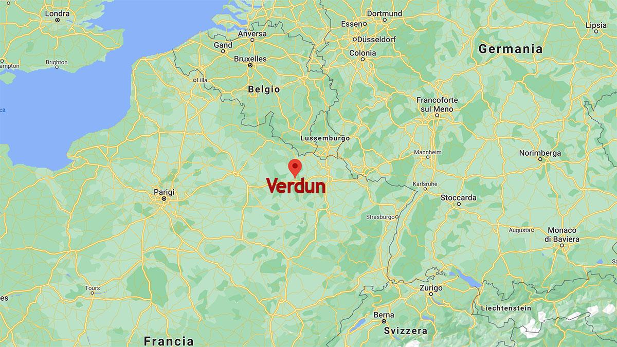La posizione di Verdun sulla mappa geografica