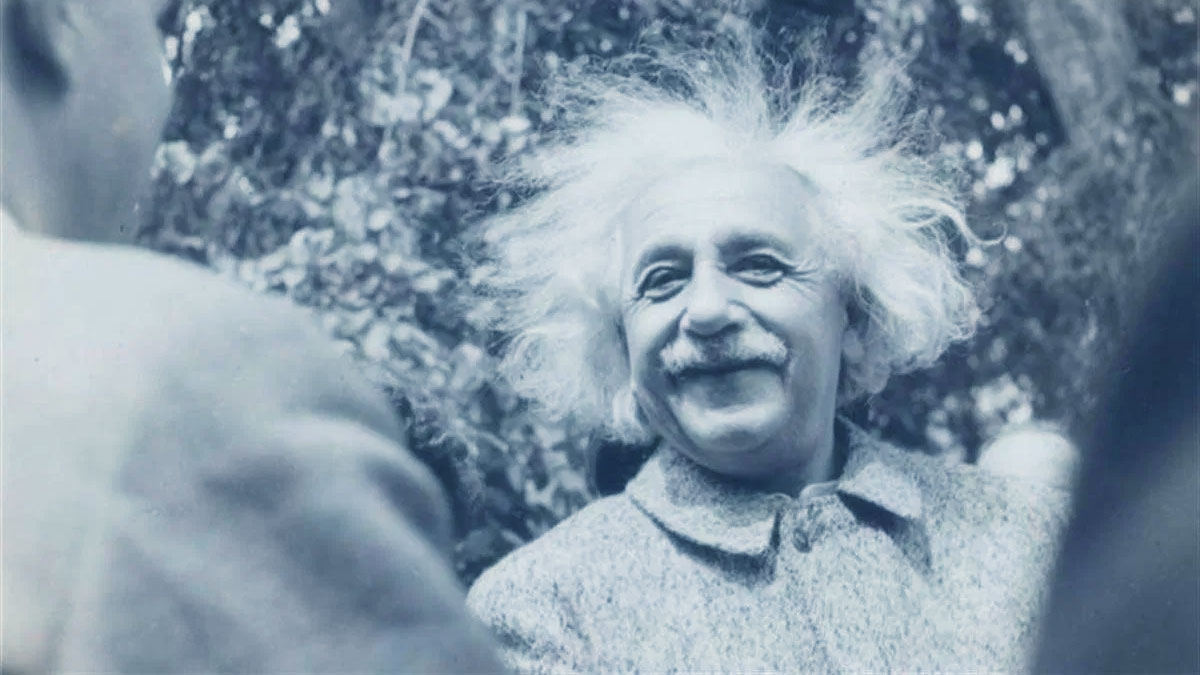 Albert Einstein con i capelli spettinati