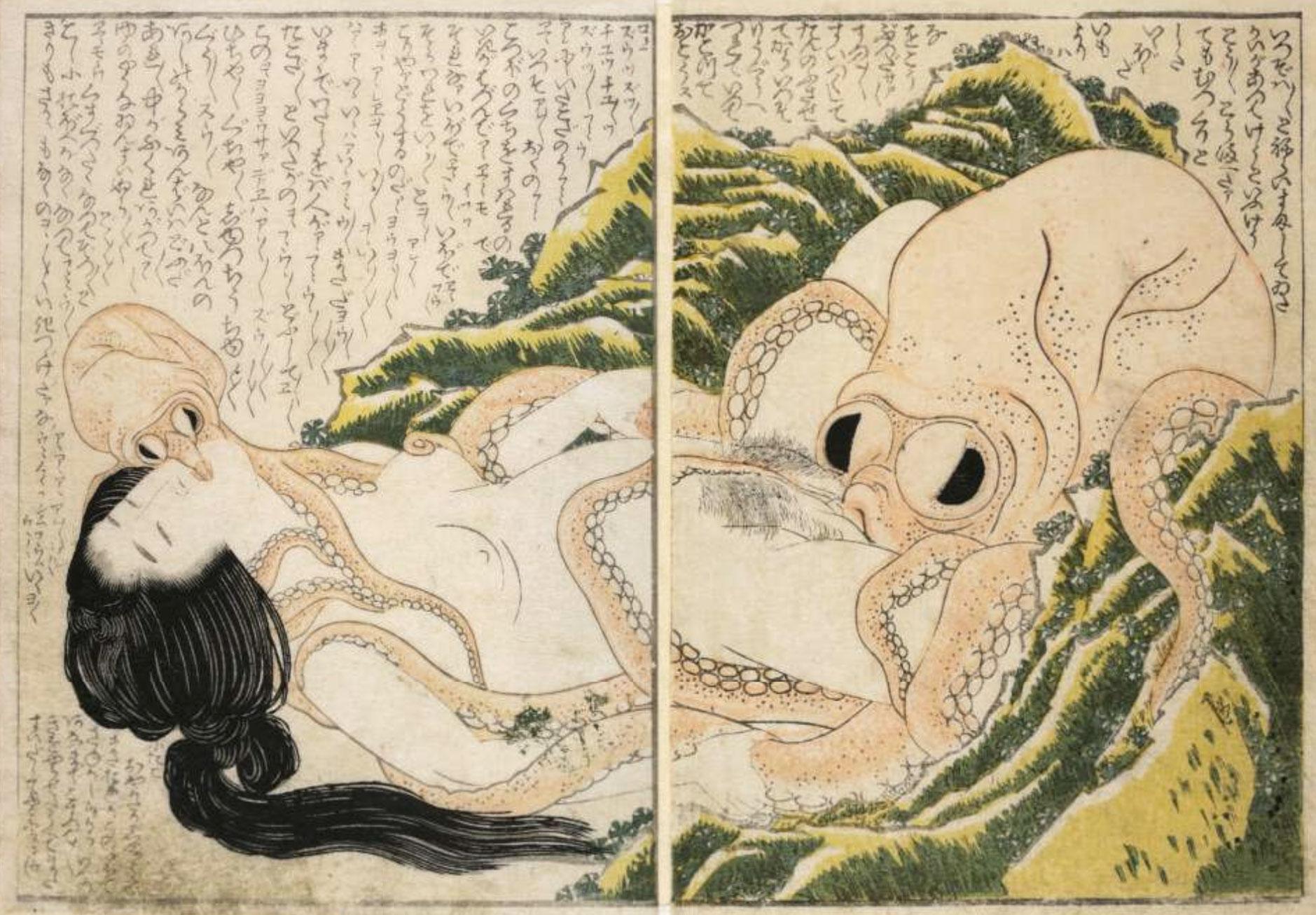 Pescatrice di Awabi e piovra (Dream of the Fisherman's Wife), opera di Hokusai