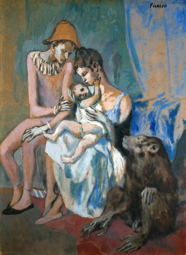 Famiglia di acrobati con scimmia, quadro di Picasso (Acrobat Family, 1905)
