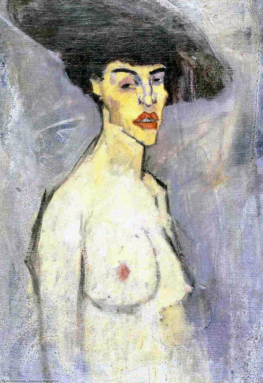 Busto di donna nuda - Nudo femminile con cappello - Modigliani (1907)
