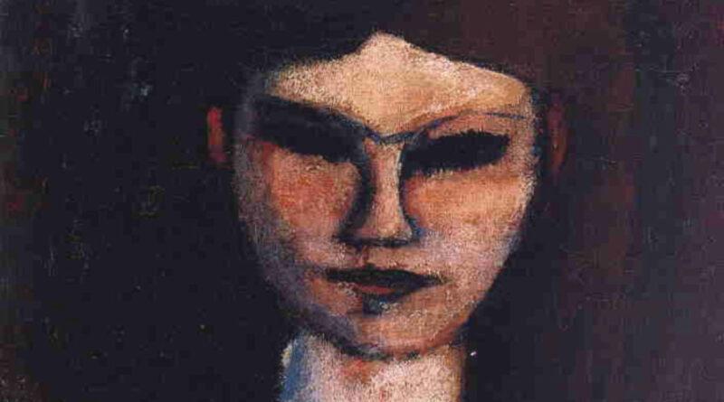 Busto di giovane donna (Modigliani), dettaglio del viso