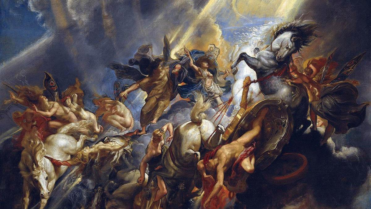 La caduta di Fetonte, quadro di Rubens, dettaglio