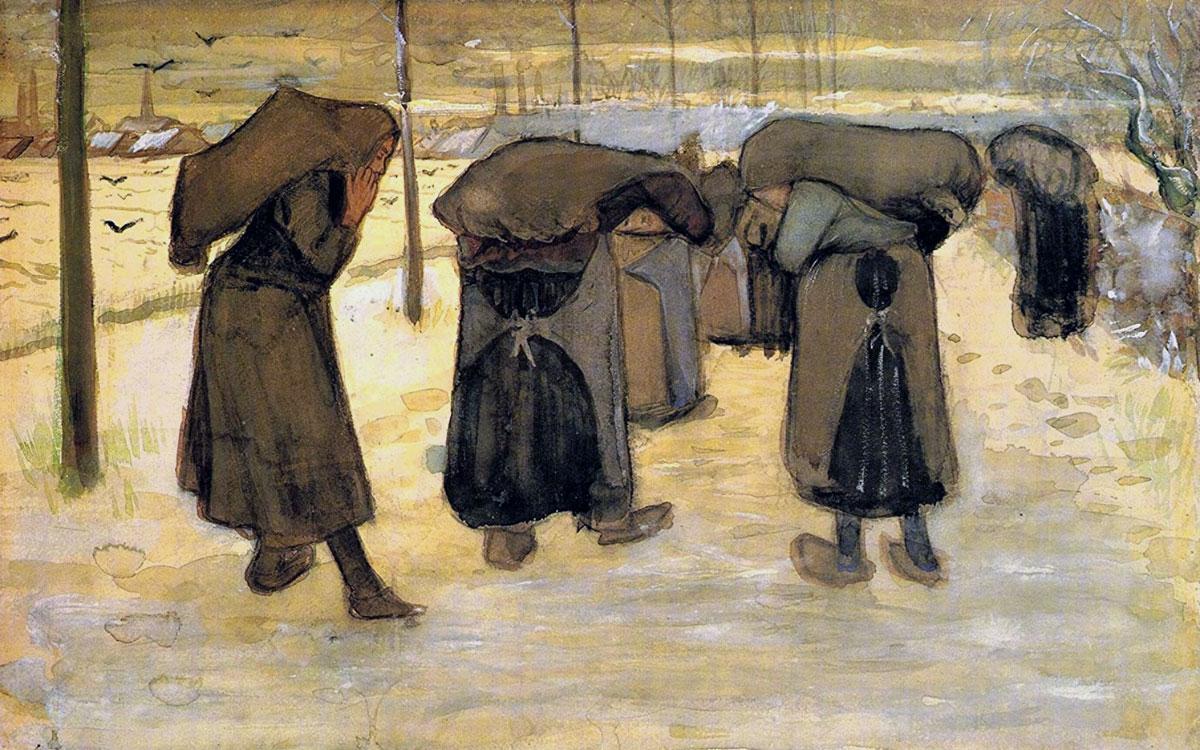 Donne che portano sacchi di carbone