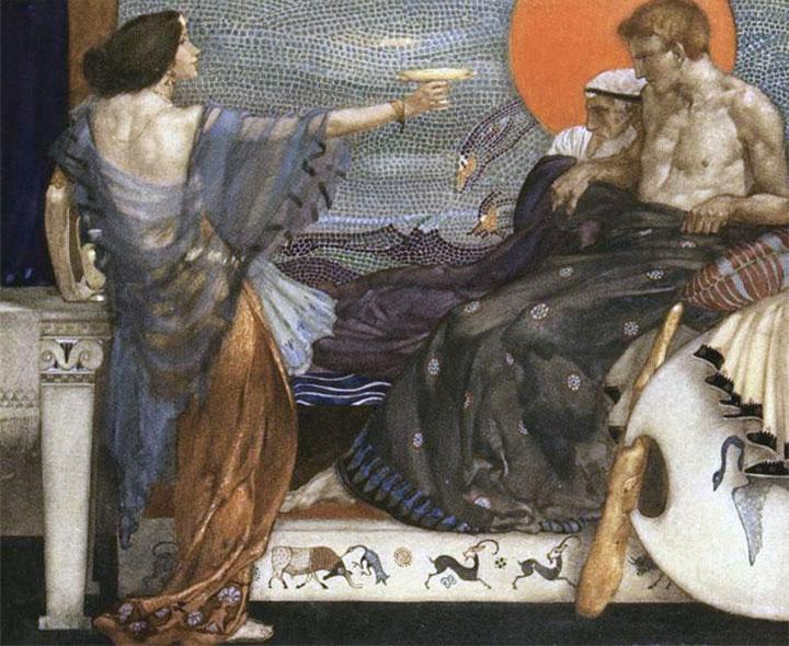 Medea offre una coppa avvelenata a Teseo, figlio del re Egeo (opera di William Russell Flint del 1910)