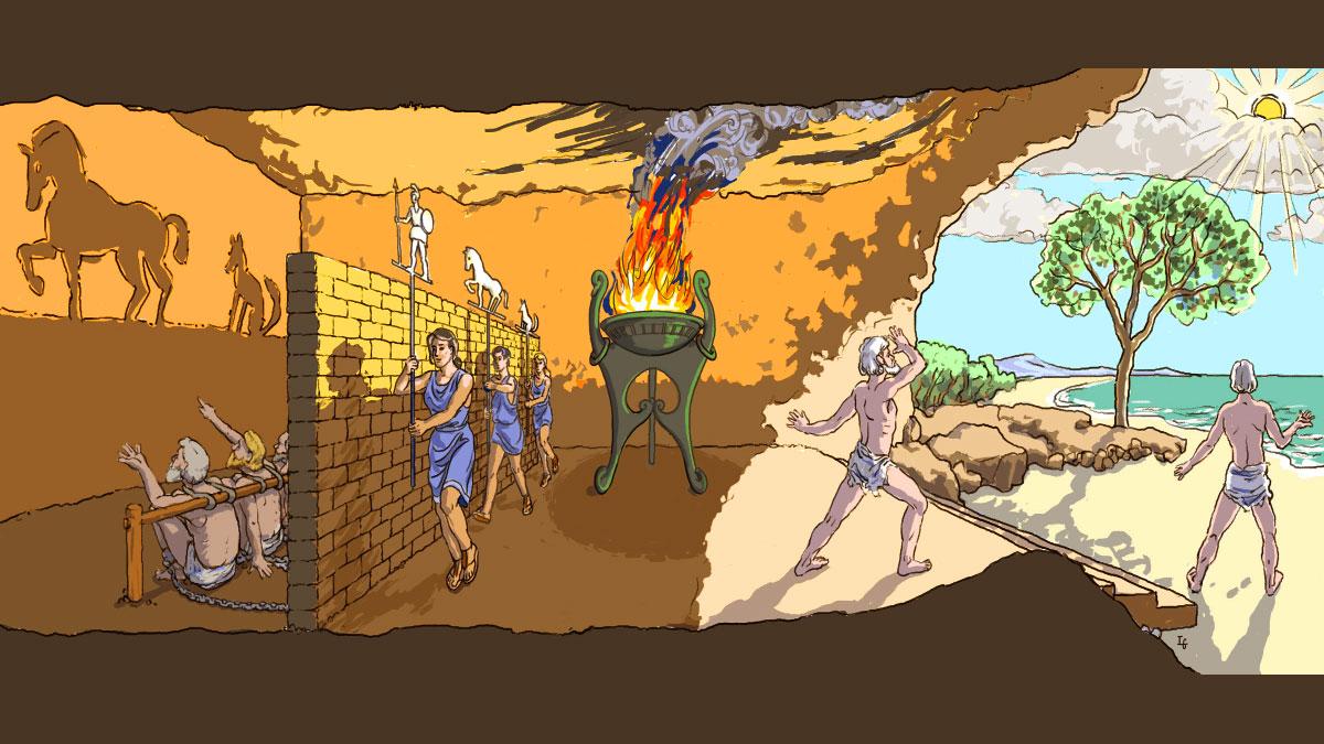 Illustrazione che spiega l'allegoria del mito della caverna di Platone